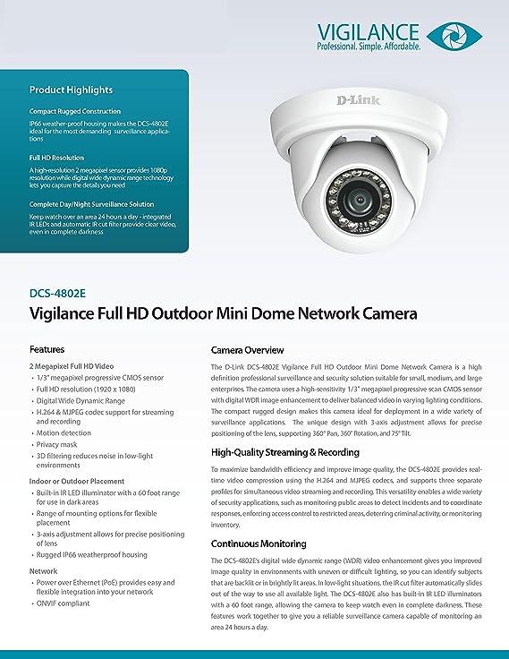 D-Link DCS-4802E Vigilance Full-HD Mini Dome Camera, White