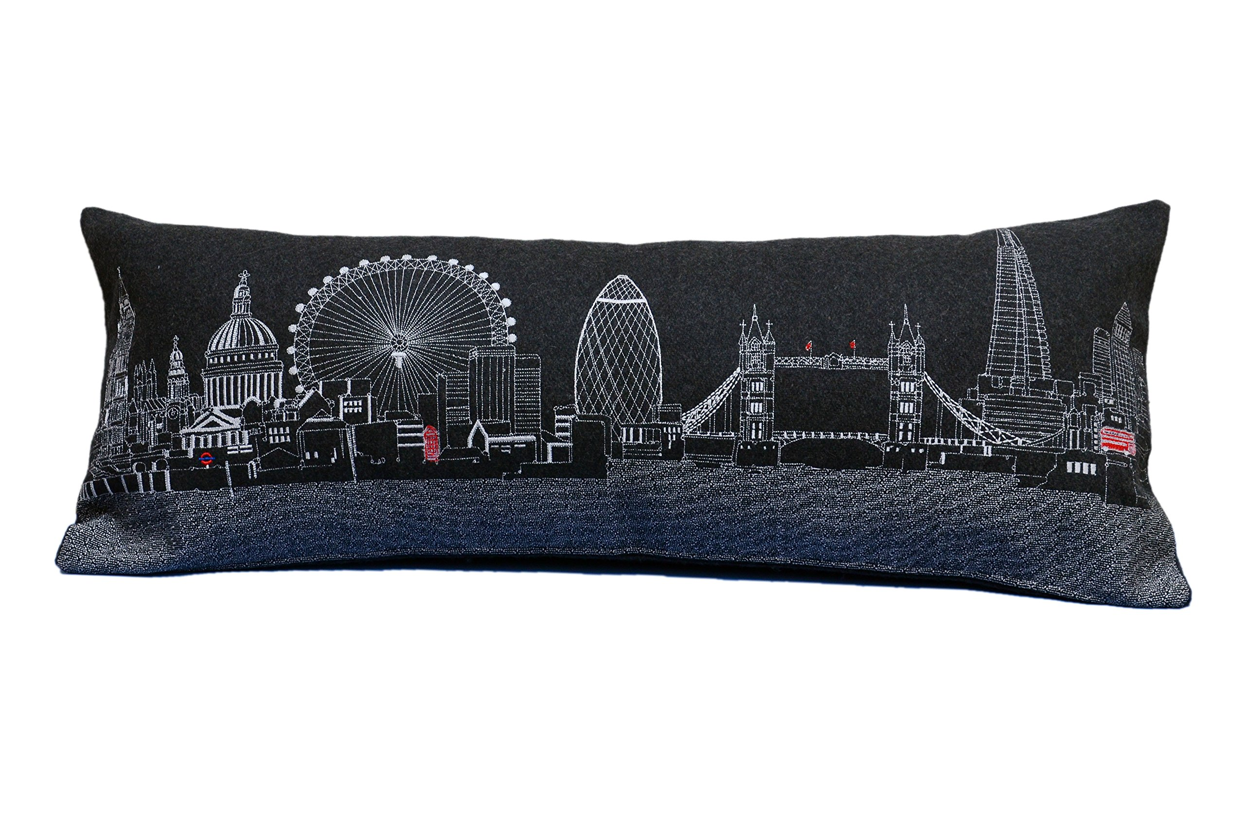 Beyond Cushions Polyester Throw Pillows Beyond Cushions London England Night Skyline Queen Size Embroidered Pillow 35 X 14 X 5 Inches Black