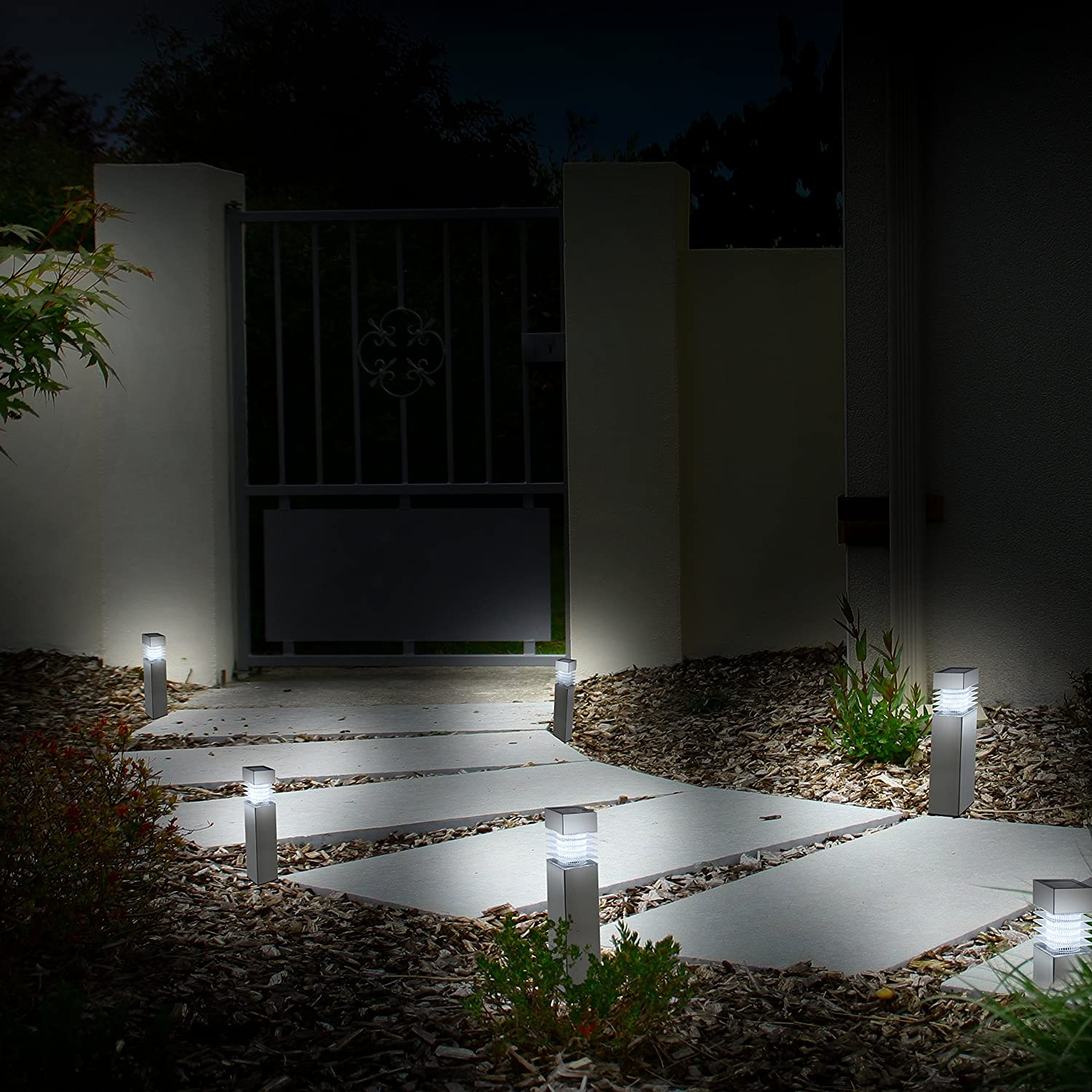 Outdoor Solar Lights for Walkway Pack of 8 Morvat LED Solar Pathway Lights Waterproof Outdoor Solar Landscape Lights Stainless Steel and Durable Plastic Garden Driveway Lights White Light