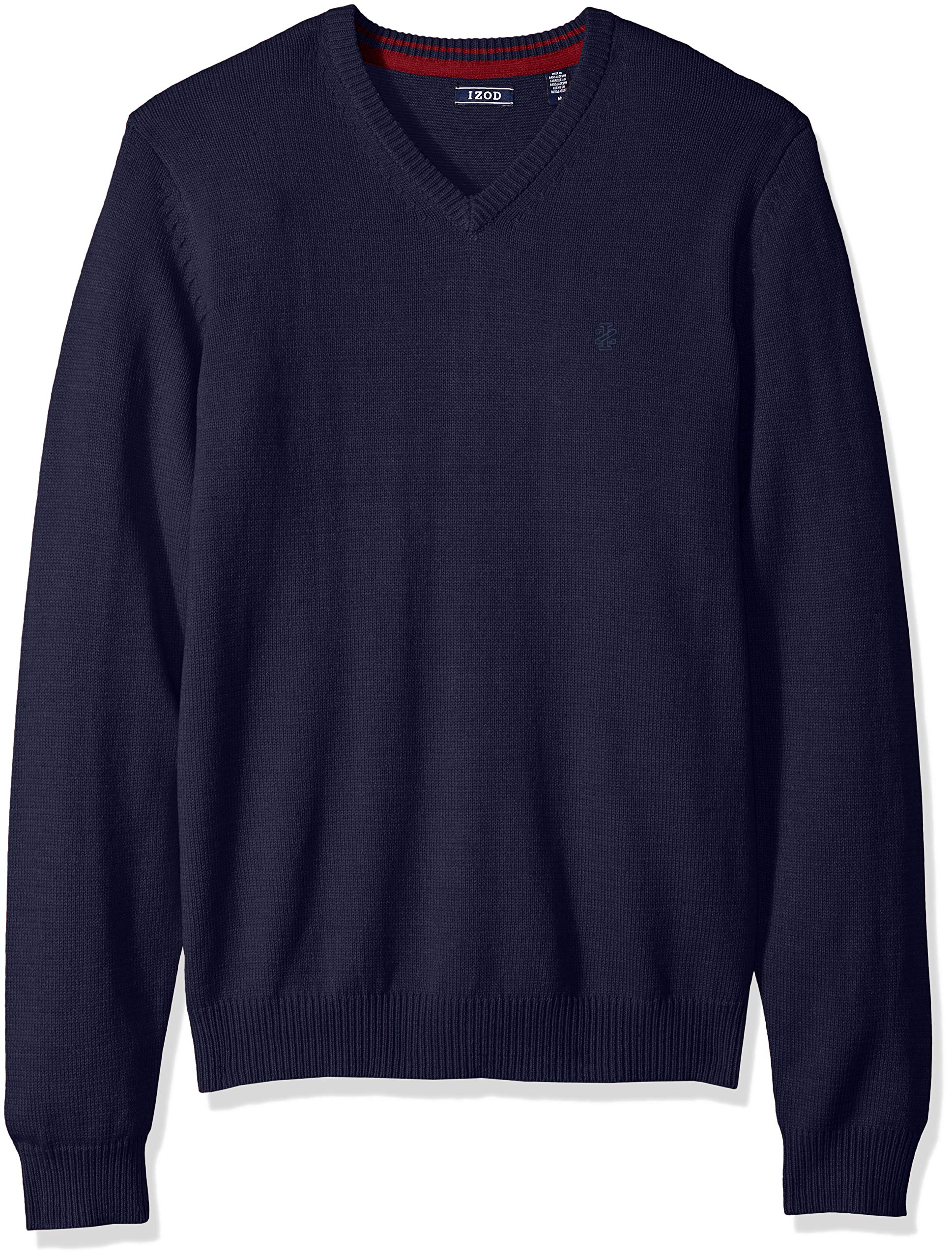 IZOD Men's Fine Gauge Solid V-Neck Sweater, New Peacoat, X-Large
