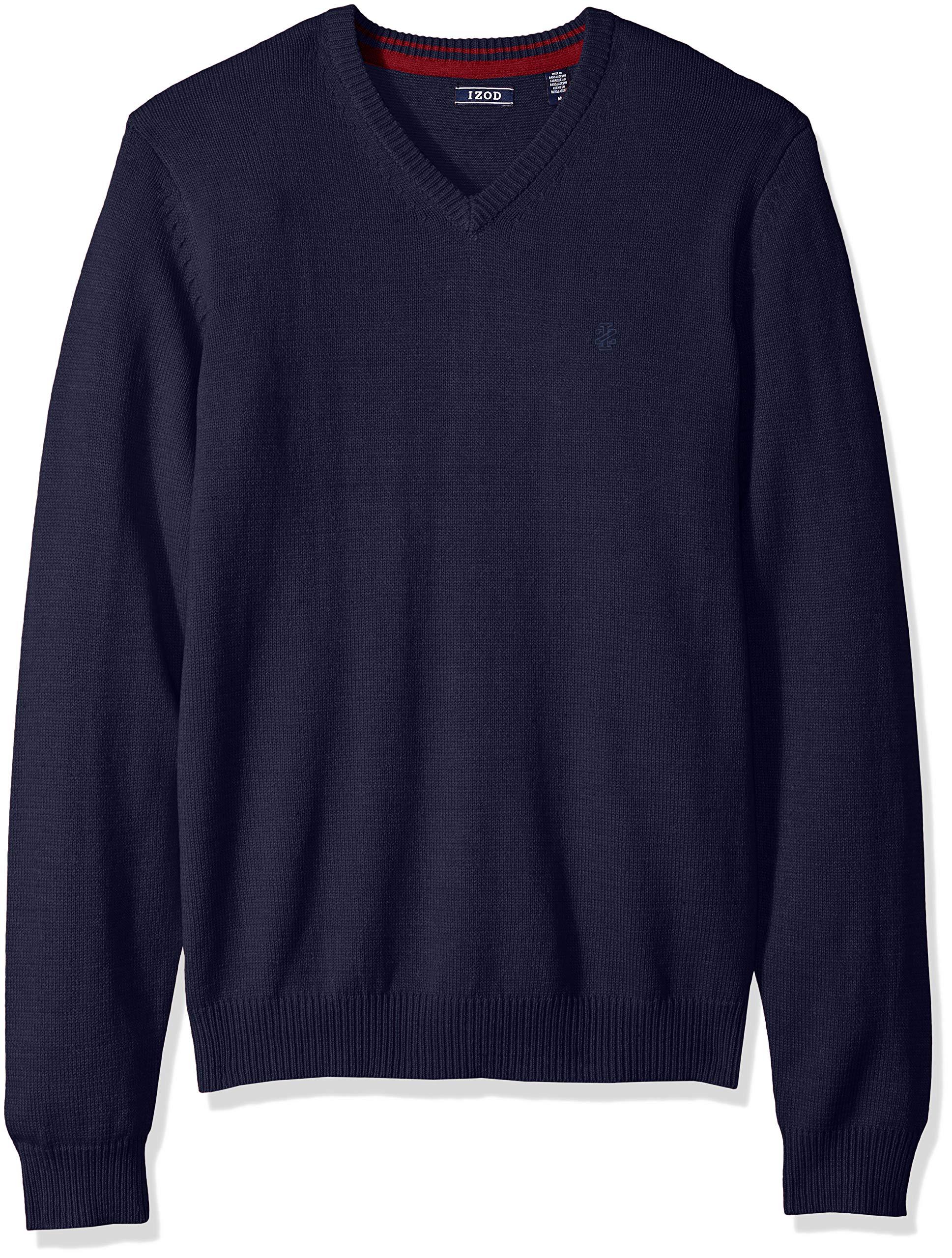 IZOD Men's Fine Gauge Solid V-Neck Sweater, New Peacoat, X-Large by IZOD (Image #1)