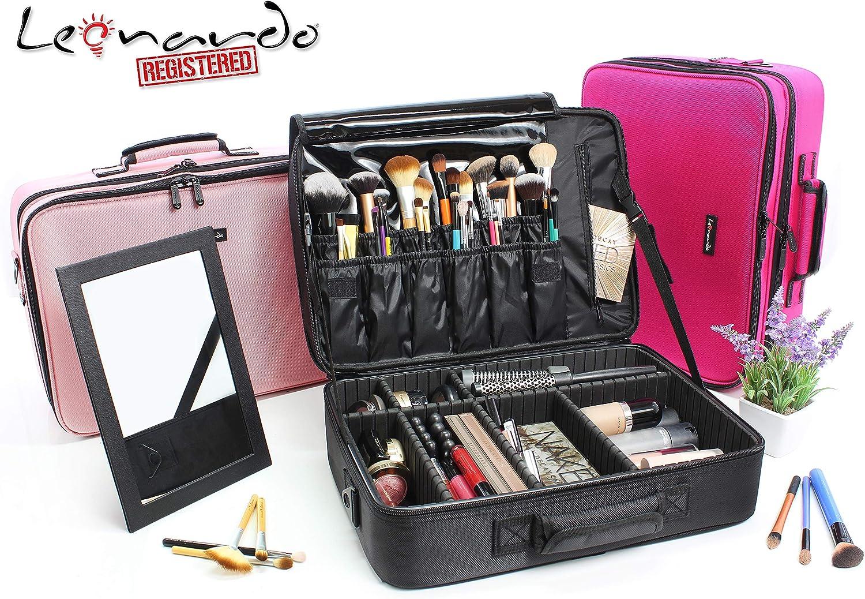 Estuche de maquillaje profesional Puerto de trucos de maquillaje Bolsa de maquillaje para viaje Cosm/éticos Organizador con separador ajustable para maquillador big