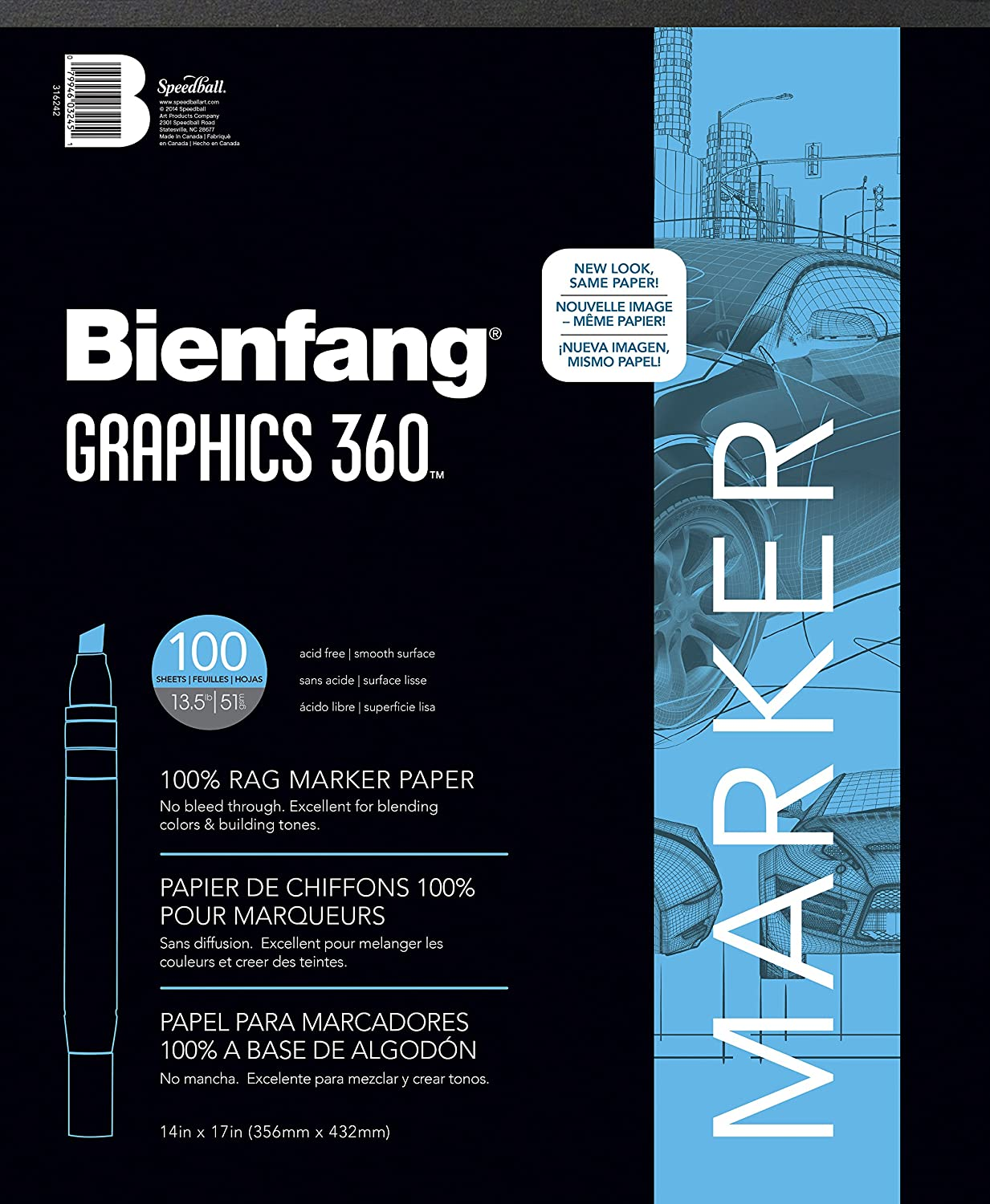 Bienfang Graphics 14-Inch by 17-Inch 360 Paper Pad, 100 Sheets 316242