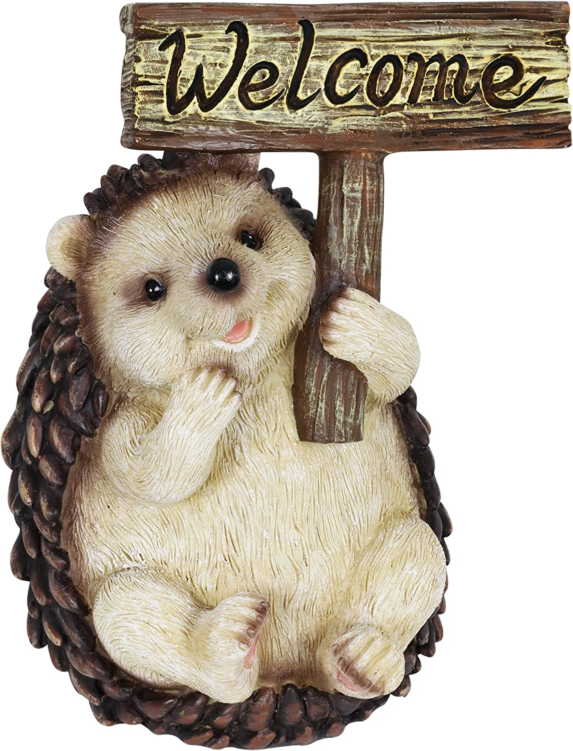 "Exhart Hedgehog Holding a Welcome Sign | Cute Garden Art Statue | Weather Resistant & Hand-Painted Outdoor Hedgehog Décor| UV Treated Resin Animal Statue for House or Patio | 7.0"" L x 6.5"" W x 8.5"" H"