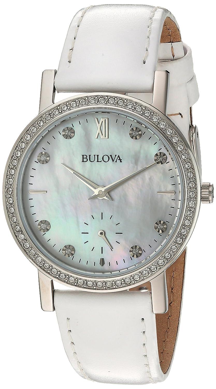 28fd69be69c Amazon.com  Bulova Women s 96L245 Swarovski Crystal White Strap Watch   Watches