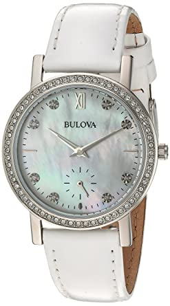 b47c851424063 Bulova Women's 32mm Crystal White Leather Strap Watch