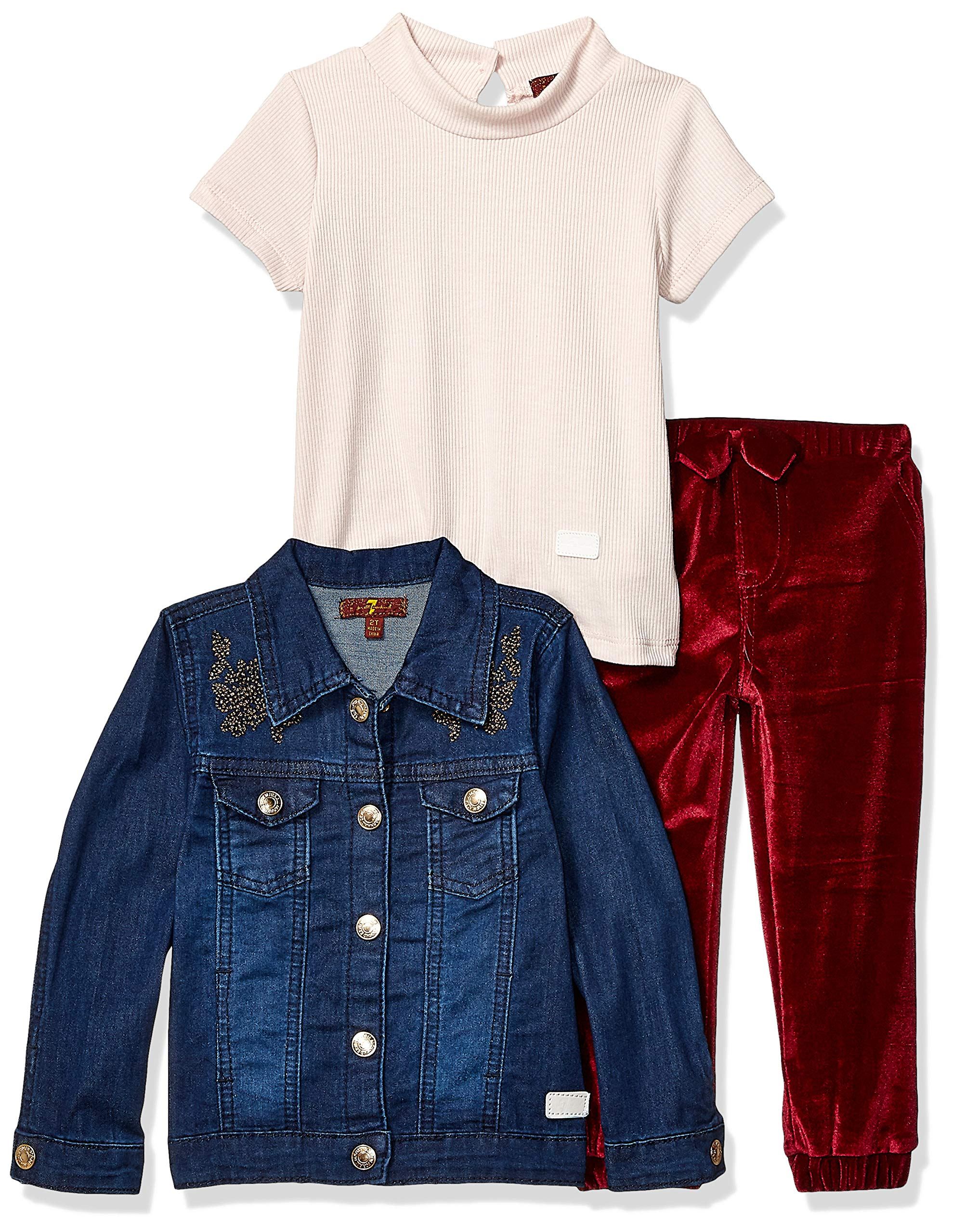 7 For All Mankind Girls' Toddler Jacket, Short Sleeve Tee and Pant Set