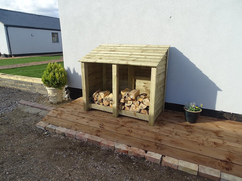 Arbor Garden Solutions 4 ft Heavy Duty Log Store - Caseta para Madera y Madera de Roble tratada a presión - para Transportar leña: Amazon.es: Jardín