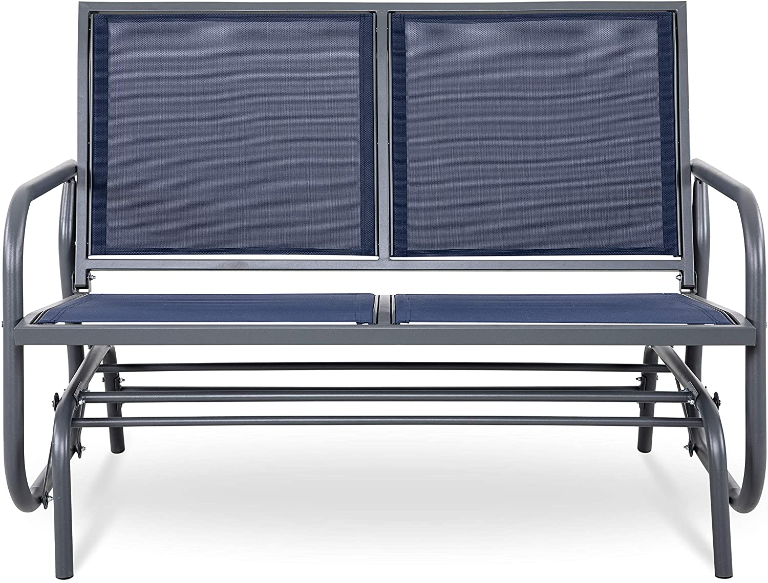 NUU GARDEN 2 Seats Outdoor Glider Swing Loveseat Chair with Powder Coated Steel Frame, Garden Rocking Seating, Patio Bench for 2 Person, Blue