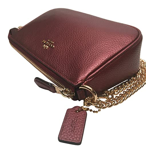 77747aa80a7 LARGE WRISTLET 19 IN METALLIC PEBBLE LEATHER (COACH F20151) METALLIC CHERRY:  Handbags: Amazon.com