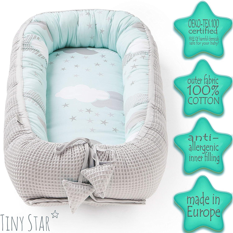 Bellamente HECHA A MANO nido para bebe con amor por la belleza de la naturaleza 0-6 meses Tumbona port/átil reductor de cuna TINY STAR Nido bebe recien nacido para promover un sue/ño nutritivo