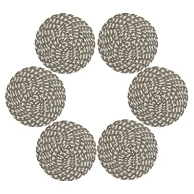 Placemts,Topotdor 15-Inch Round Placemat Braided Woven PlacematsSet of 6 (Cream-Brown)