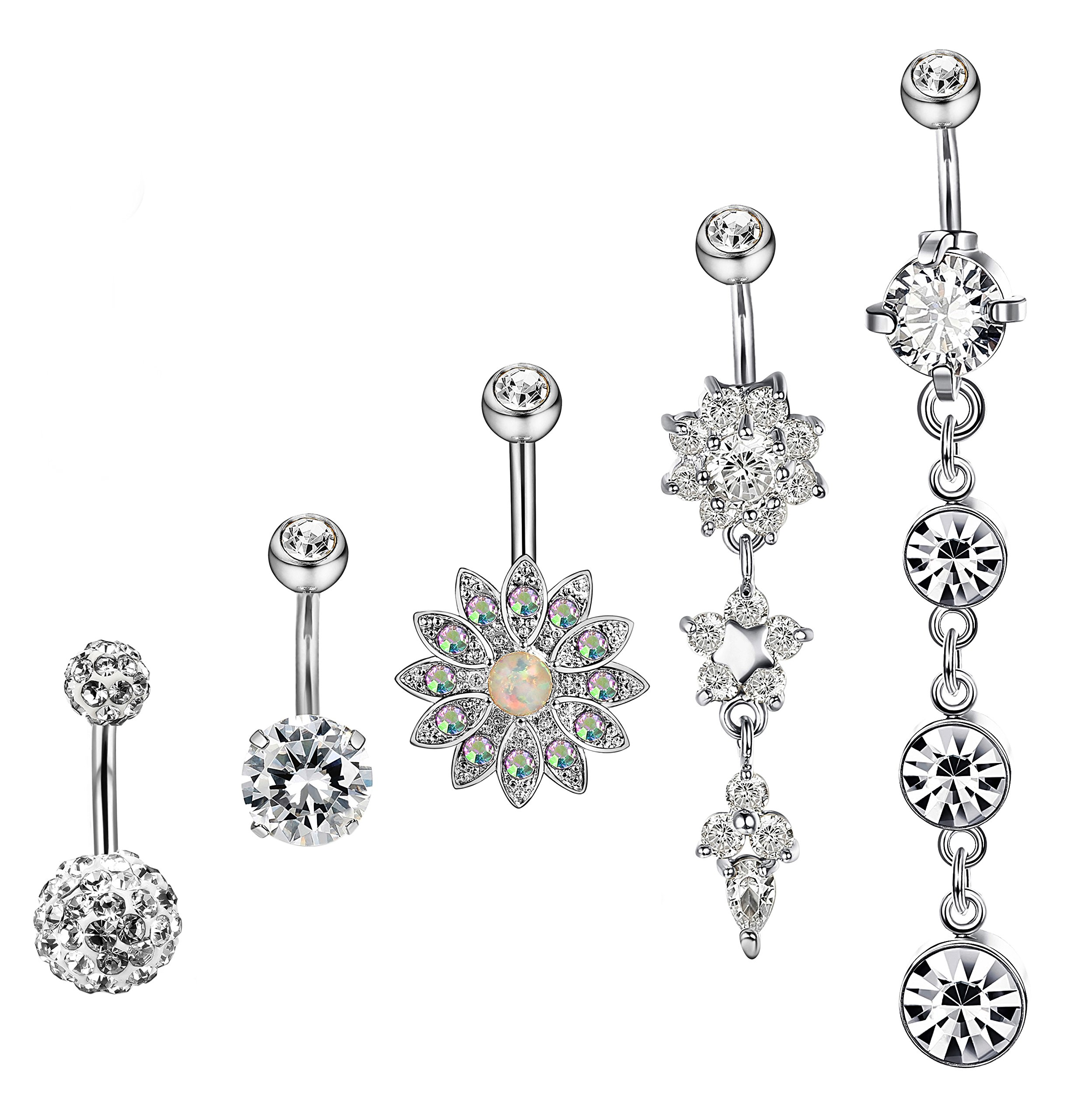 Hanpabum 5Pcs 14G Surgical Stainless Steel Dangle Belly Button Rings for Women Girls CZ Navel Rings Body Piercing Jewelry (A:Silver Tone)