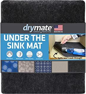 """product image for Drymate Premium Under The Sink Mat (24"""" x 29""""), Cabinet Protection Mat, Shelf Liner - Absorbent/Waterproof/Slip-Resistant - Machine Washable, Durable (Made in The USA) (Charcoal)"""