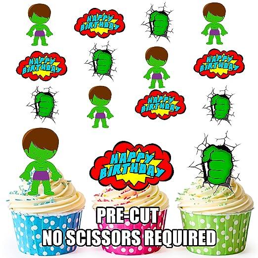 Precortado Hulk superhéroe feliz cumpleaños Pack ...