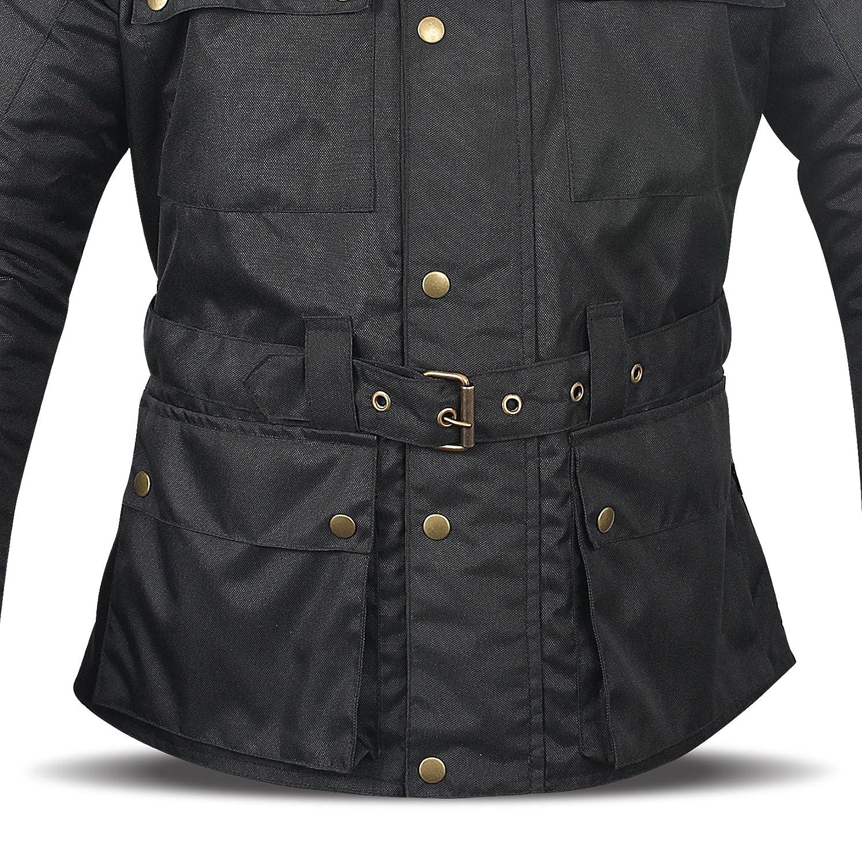 , Plata JET Chaqueta Moto Hombre Impermeable Textil con Armadura Vintage Retro Cl/ásico L EU 50-52