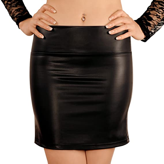 ce05214e7ae41 Sodacoda Wet Look Faux leather Latex Mini Pencil Skirt - stretchy soft  material (S-L)