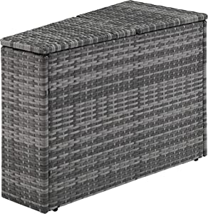 Crosley Furniture CO7210-GY Catalina Outdoor Wicker Arm Table with Storage, Gray