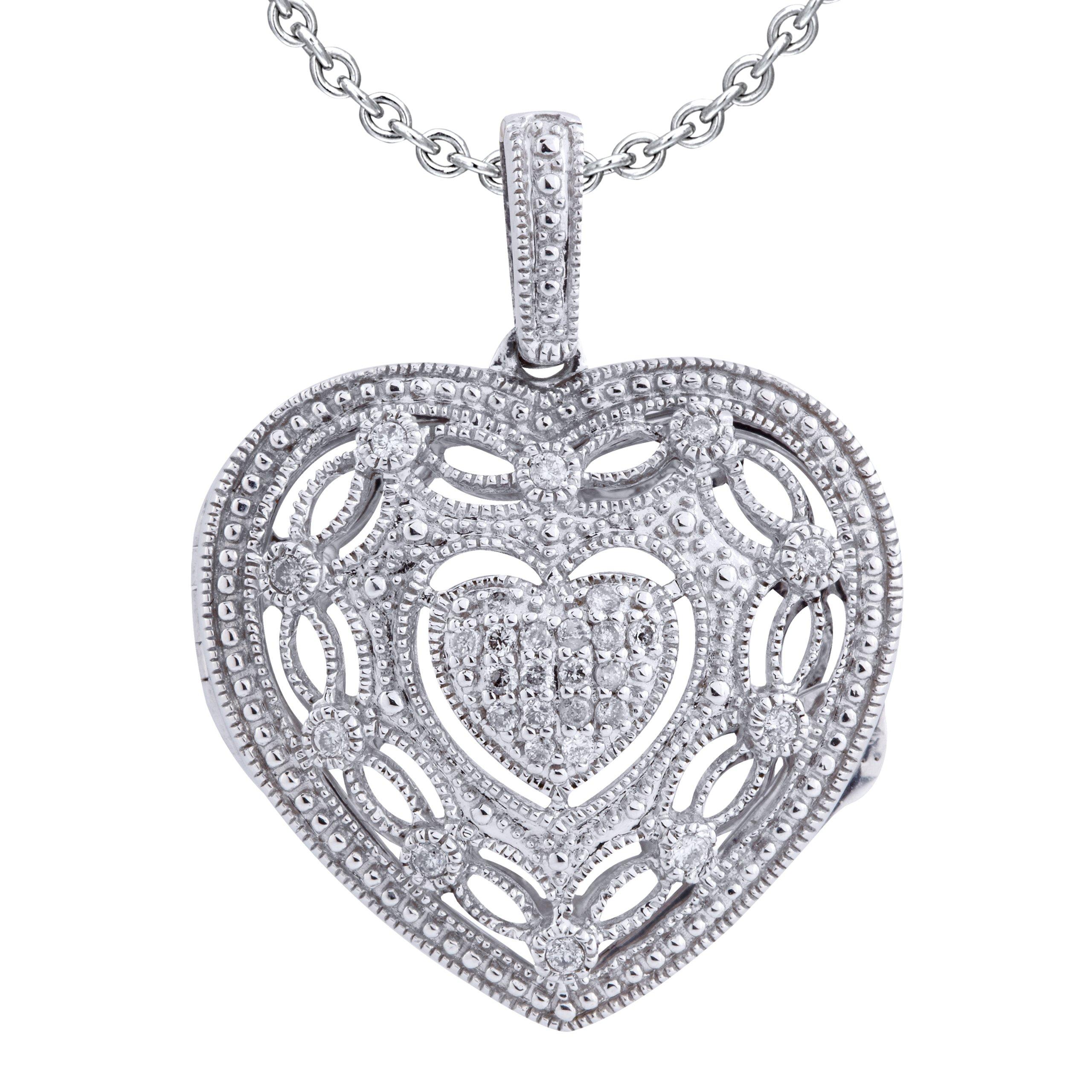Ze Sterling Silver 1/5ct tw Diamond Heart Locket