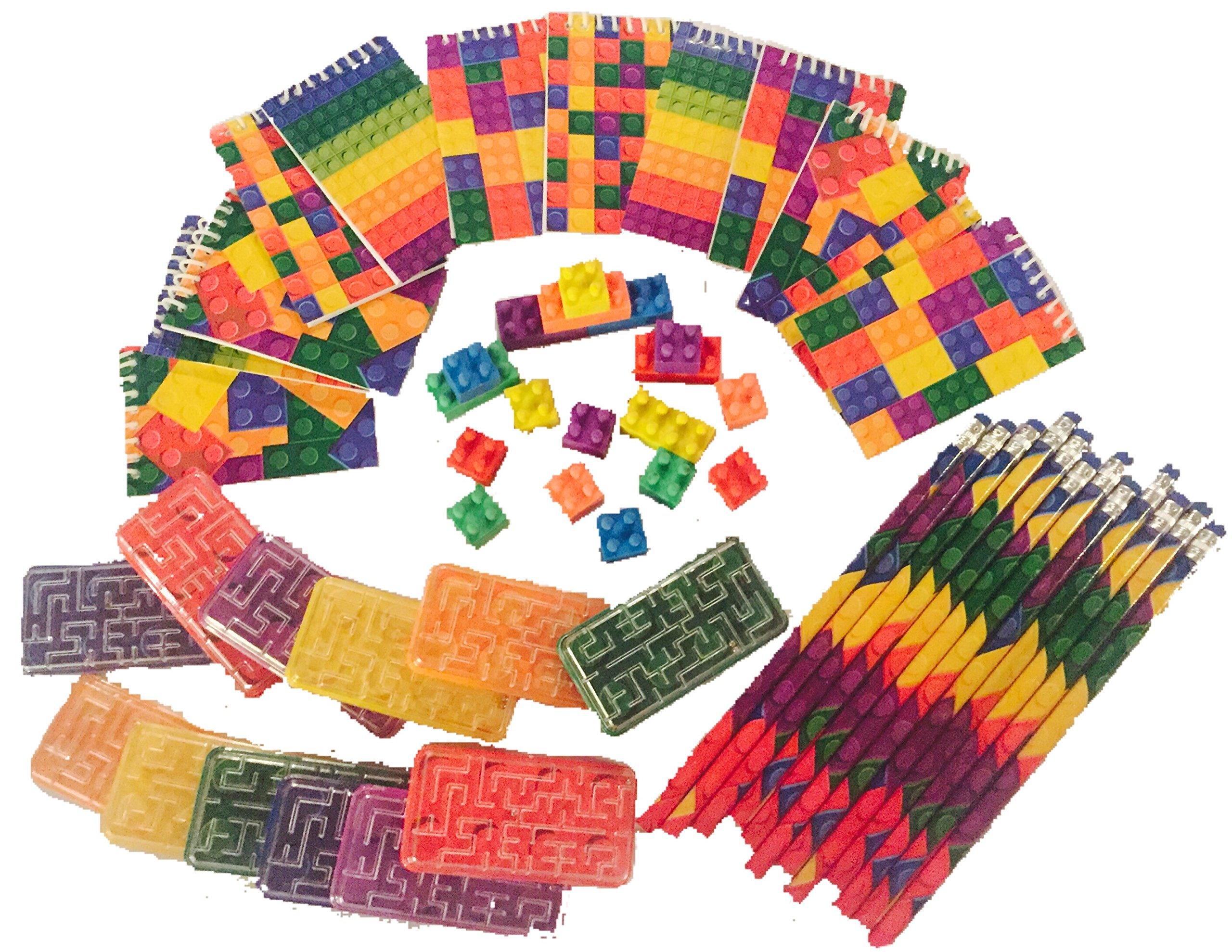 Brick Building Blocks Party Favor Novelty Toys Set - Block Pencils, Mini Note Pads, Erasers, Ball Mazes, Bags. 60 Piece Bundle for Children Lego Birthdays, Goody Bags, School Prize Boxes, Halloween