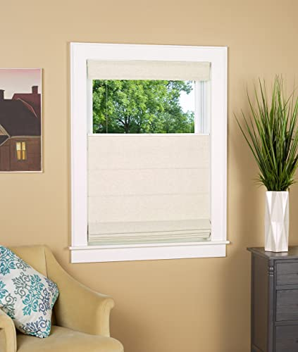 North Country Window Wear Cordless Thermal Backed Top Down Bottom Up Roman Shade 36 W x 64 L – Color Linen