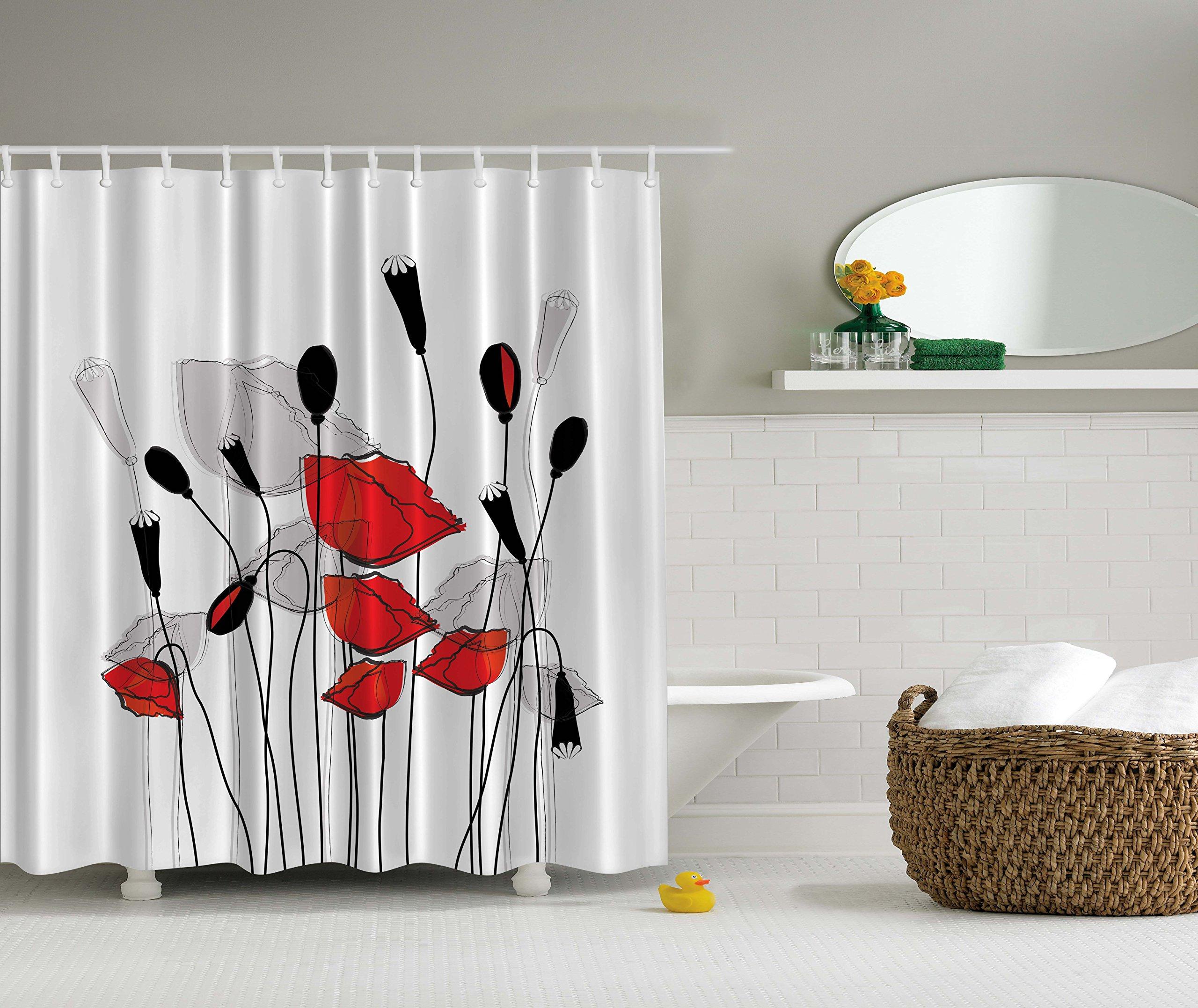 poppy fabric shower curtain. Black Bedroom Furniture Sets. Home Design Ideas