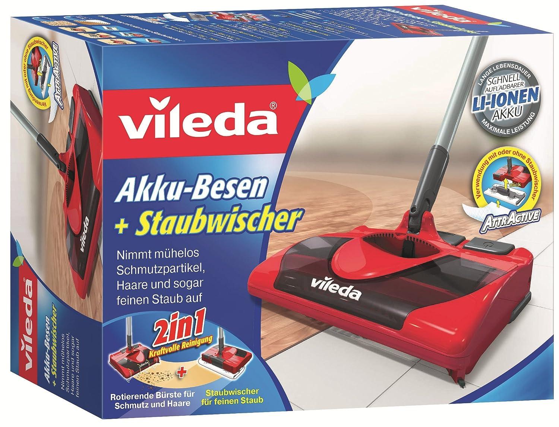 Vileda 123194 - Escoba sin Cables (Funciona con batería, Incluye Gamuza para Recoger el Polvo)