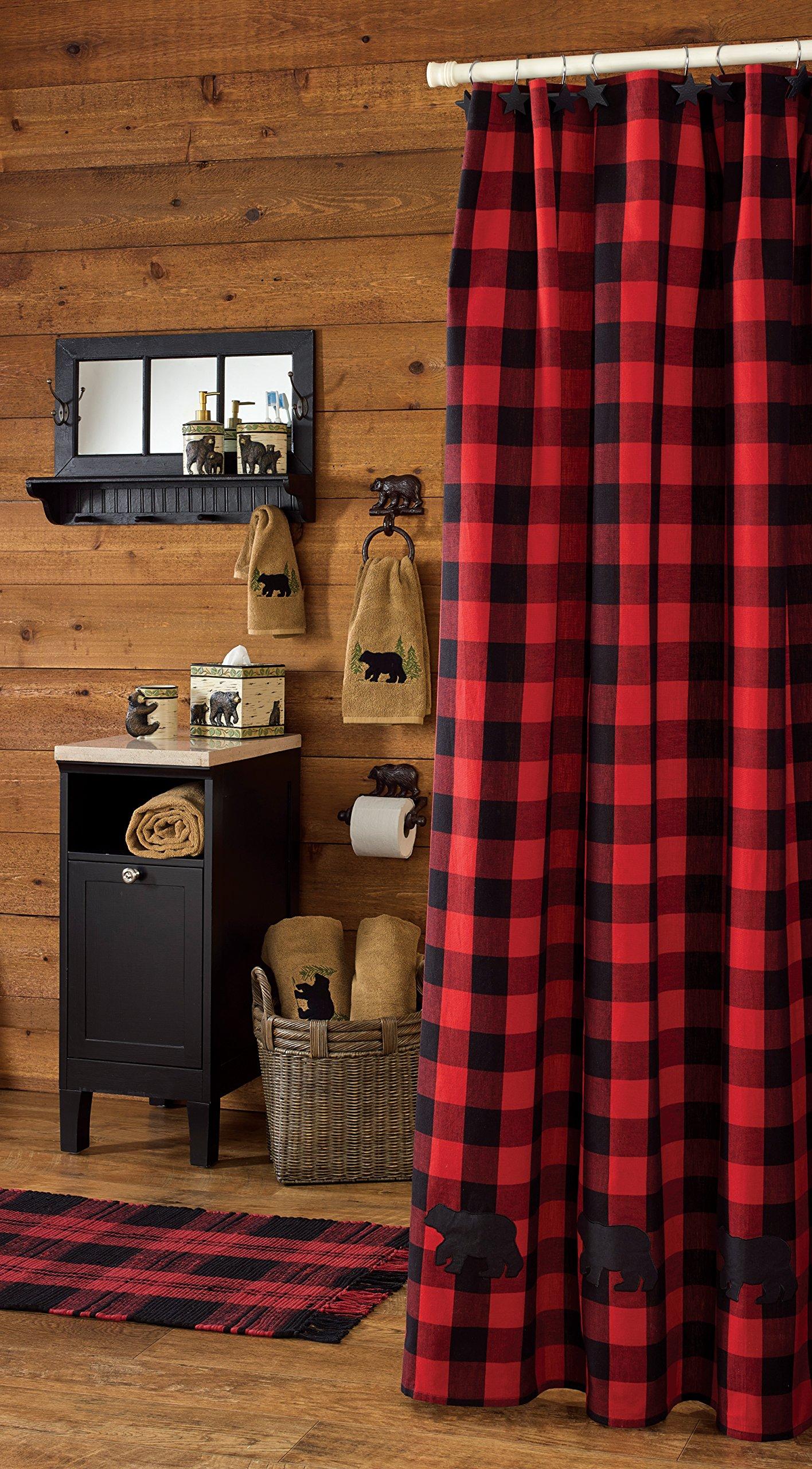 Park Designs Buffalo Check Bear Applique Shower Curtain