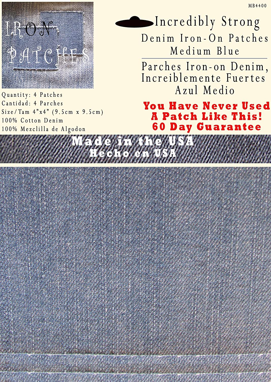 4 Medium Blue 4x4 Iron on Patches Strongest Iron on Denim Jean Patch