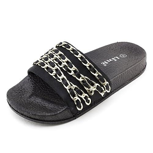 2c5824e2b0be4 Link Girls Open Toe Chain Strap Flip Flop Sandals (Black