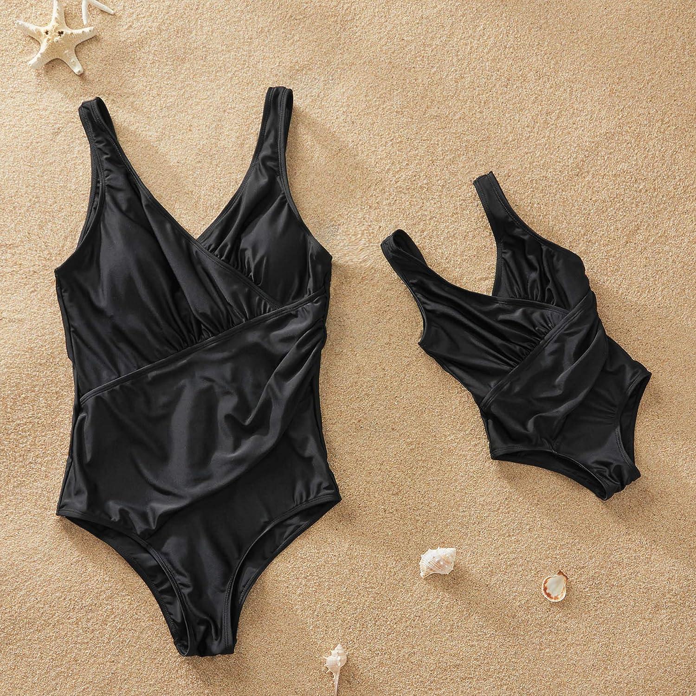 Yaffi Mommy and Me Matching Swimwear 2019 Newest One Piece Monokini Tummy Control V Neck Bathing Suit