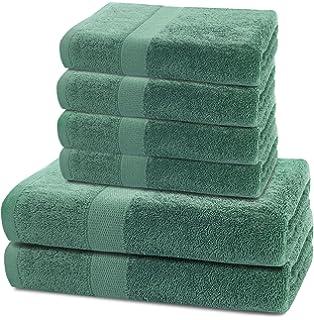 DecoKing Juego de 6 Toallas Algodón 4 Toallas 50x100 cm 2 Toallas 70x140 cm Absorbente Verde