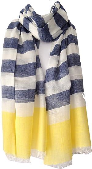 Purple Possum® bufanda azul crema y amarillo rayas de comercio justo para damas, bufanda azul a rayas