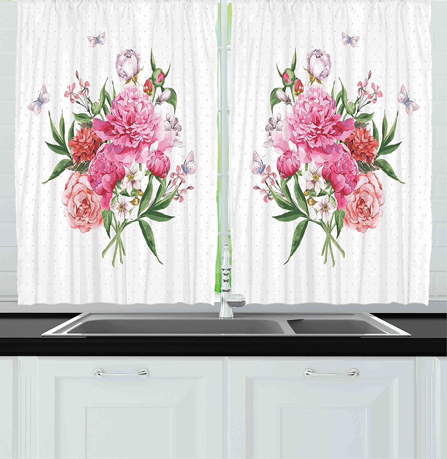 Ambesonne Kitchen Decor Collection, Floral Watercolor Style Card Design Bloom Wildflowers Butterflies Bouquet Polkadot, Window Treatments