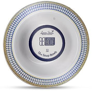 Laura Stein Designer Tableware Premium Heavyweight 12 Ounce White Bowl And Blue u0026 Gold Border Plastic  sc 1 st  Amazon.com & Amazon.com: Laura Stein Designer Tableware Premium Heavyweight 12 ...