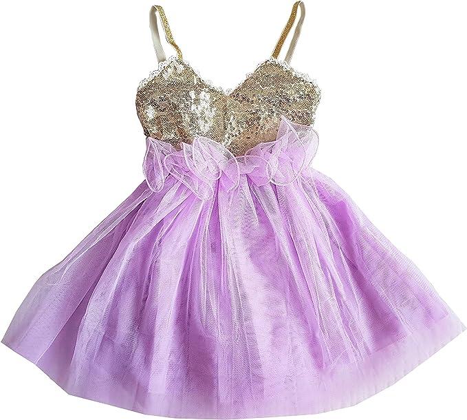 Amazon.com: LMC - Vestido de lentejuelas doradas para niña ...
