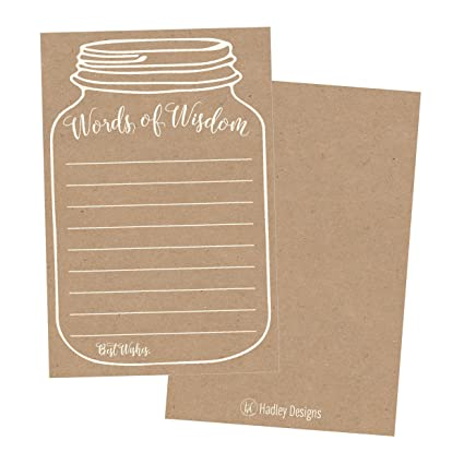 Amazon.com : 50 Rustic Mason Jar Words of Wisdom Advice Cards, Use ...