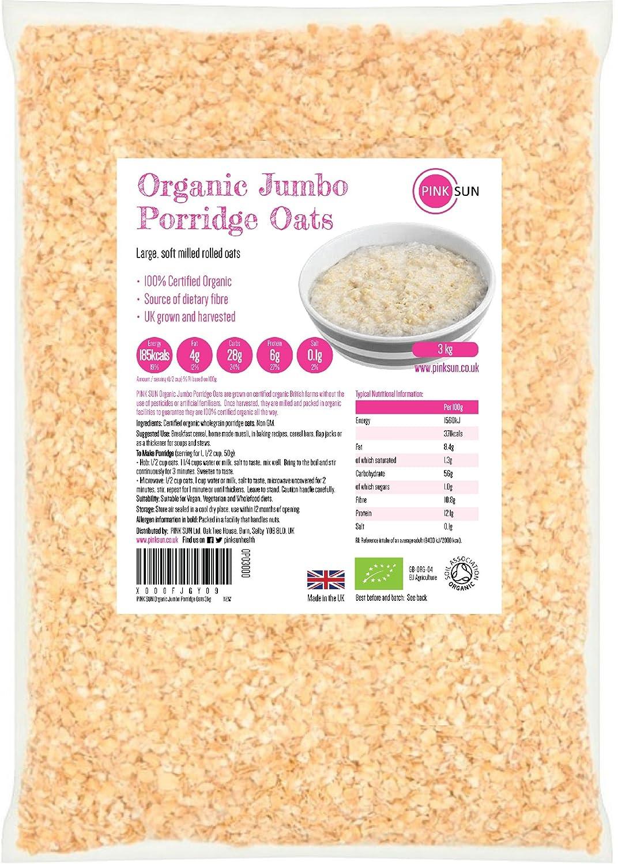 PINK SUN Avena Integral Orgánica Cereales 3kg Bolsa grande Harina de Avena Copos - Organic Porridge Oats Oatmeal: Amazon.es: Alimentación y bebidas