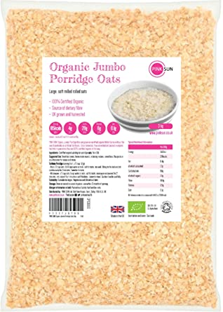 PINK SUN Avena Integral Orgánica Cereales 3kg Bolsa grande Harina de Avena Copos - Organic Porridge