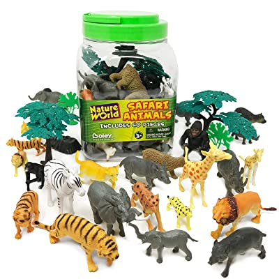 Boley 40 Piece Wild Sunny Safari Animal Bucket - Assortment of Miniature Plastic Toy Safari Animal Figurines for Kids, Children, Toddlers - Includes Elephants, Tigers, Zebras,and More!: Toys & Games
