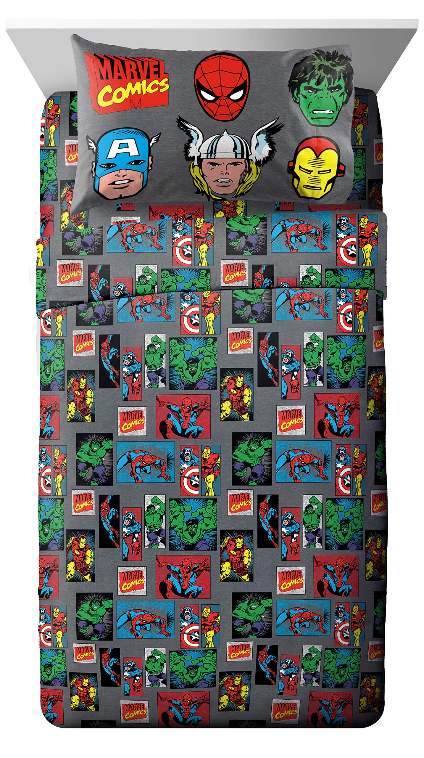 Jay Franco Marvel Avengers Superheros 3 Piece Twin Sheet Set, Gray by Jay Franco