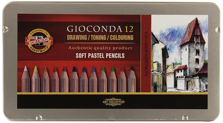 Koh-I-Noor GIOCONDA 8827 - Zeichenset Pastellstifte/Pastellkreiden in Metallbox, 12er Set 8827012005PL