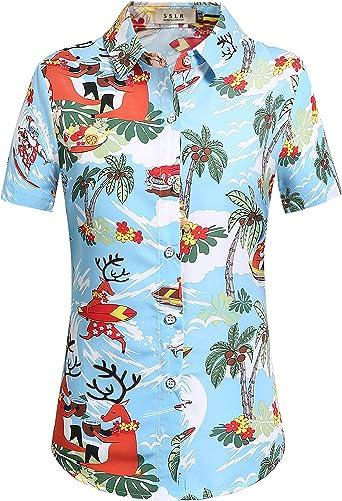 SSLR Camisa Estilo Hawaiana Tropical Estampado Navideño Manga Corta para Mujer: Amazon.es: Ropa y accesorios