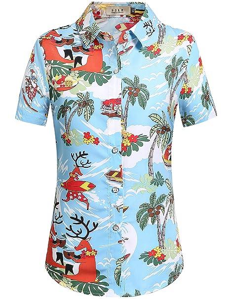 SSLR Blusa Mujer Hawaiana Manga Corta Camisa Casual Aloha Luau Tropical de Papa Noel Navidero (