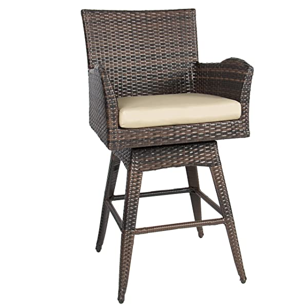 Best Choice Products All-Weather Outdoor PE Wicker 360-Degree Swivel Bar Stool Patio Furniture w/Cushion, Backrest, Armrests, Footrest - Brown