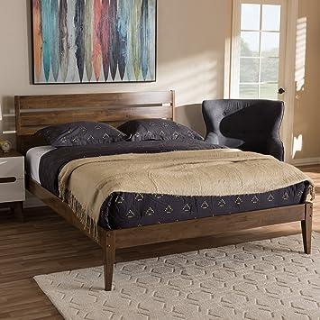 Baxton Studio Elmdon Mid Century Modern Solid Walnut Wood Slatted Headboard  Style King Size Platform