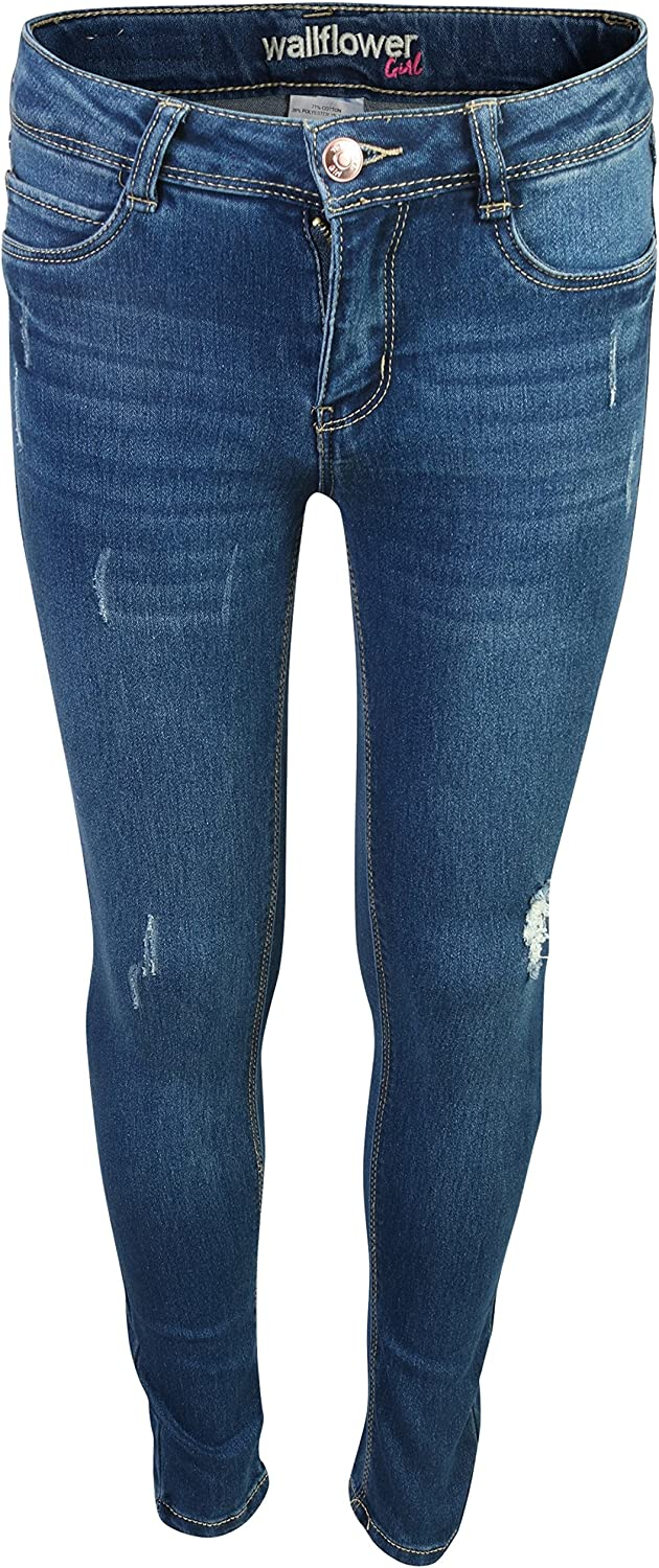 WallFlower Girls Skinny Soft Stretch Jeans with Rips and Tears