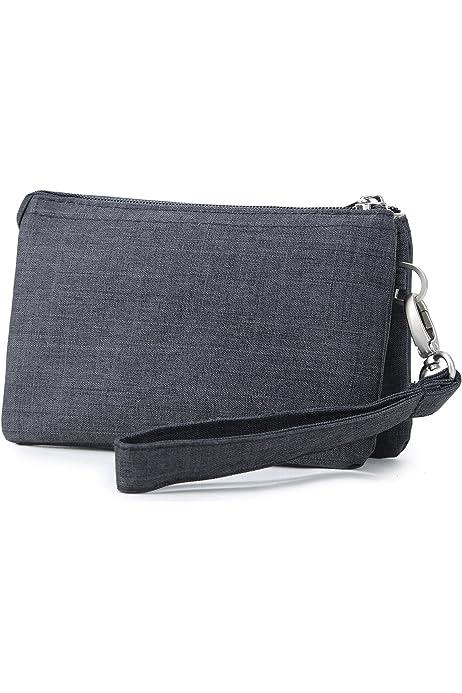 BKID Waterproof Cell Phone Pouch Handbag Wristlet Bag Small Purse 3 Zipper Pocket Purse for Women Girls
