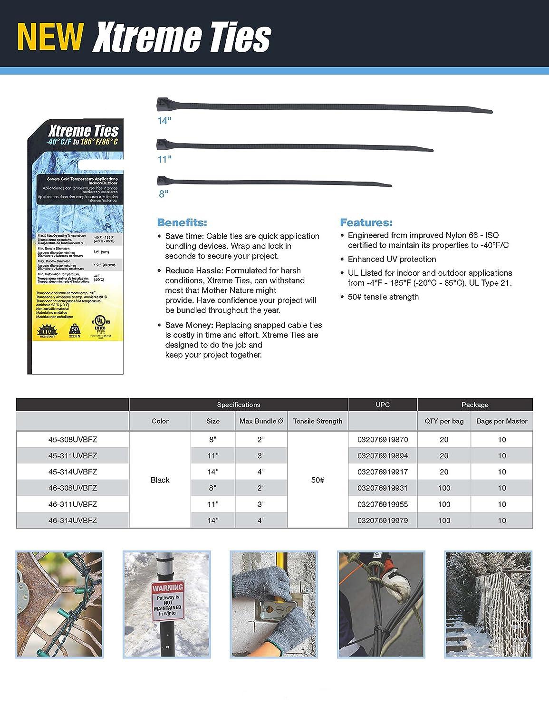 11 inch. Black 50 lb tensile Gardner Bender 46-311UVBFZ Xtreme Temperature Hot /& Cold Cable Tie 100 Pk.