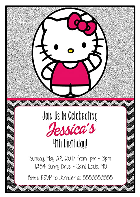 Amazon Custom Birthday Party Invitation Hello Kitty